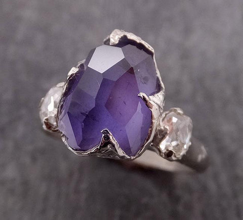 Partially Faceted Purple Sapphire side diamonds Multi stone 18k White Gold Engagement Ring Wedding Ring Custom Gemstone Ring 1861