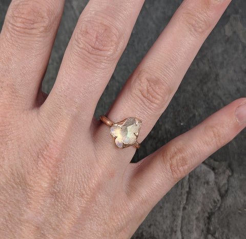Partially Faceted Moonstone 14k Rose Gold Ring Gemstone Solitaire recycled statement cocktail statement 1782