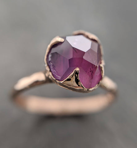 Partially Faceted Sapphire 14k Yellow Gold Engagement Ring Wedding Ring Custom One Of a Kind Gemstone Ring Solitaire 2094