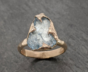 Raw uncut Aquamarine Solitaire 14k Yellow gold Ring Custom One Of a Kind Gemstone Ring Bespoke byAngeline 2091