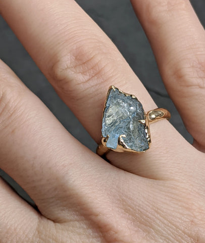 Raw uncut Aquamarine Solitaire 14k Yellow gold Ring Custom One Of a Kind Gemstone Ring Bespoke byAngeline 2092