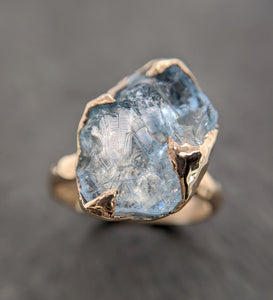 Raw uncut Aquamarine Solitaire 14k Yellow gold Ring Custom One Of a Kind Gemstone Ring Bespoke byAngeline 2093