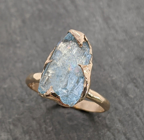 Raw uncut Aquamarine Solitaire 14k Yellow gold Ring Custom One Of a Kind Gemstone Ring Bespoke byAngeline 2090