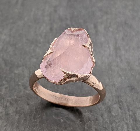Partially faceted Morganite 14k Rose gold solitaire Pink Gemstone Cocktail Ring Statement Ring gemstone Jewelry byAngeline 2095