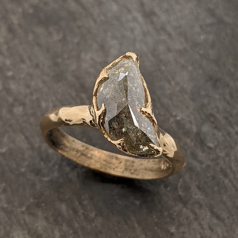 Fancy cut salt and pepper Half moon Diamond Engagement 14k Yellow Gold Solitaire Wedding Ring byAngeline 2097