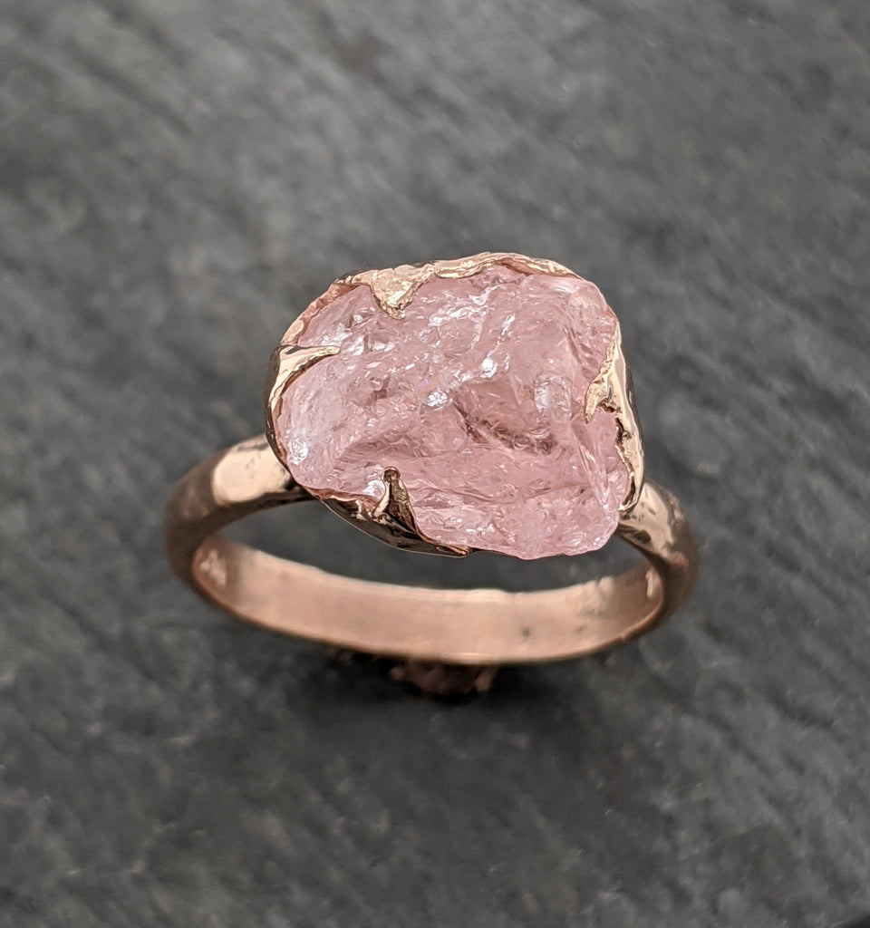 Raw Rough Morganite 14k Rose gold Ring Gold Pink Gemstone Cocktail Ring Statement Ring Raw gemstone Jewelry byAngeline 2100