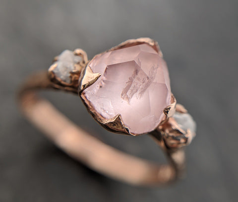 Partially Faceted Morganite Diamond 14k Rose Gold Engagement Ring Multi stone Wedding Ring Custom One Of a Kind Gemstone Ring Bespoke Pink Conflict Free by Angeline 2096