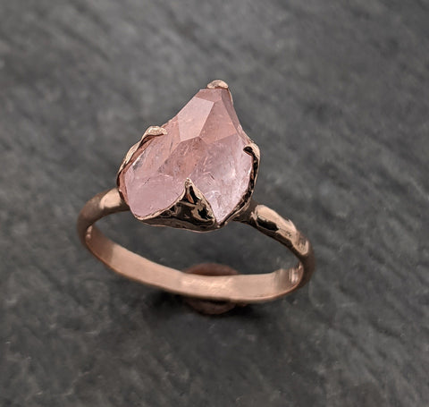 Morganite partially faceted 14k Rose gold solitaire Pink Gemstone Cocktail Ring Statement Ring gemstone Jewelry by Angeline 2098