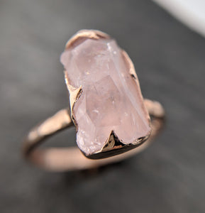 Morganite partially faceted 14k Rose gold solitaire Pink Gemstone Cocktail Ring Statement Ring gemstone Jewelry by Angeline 2099