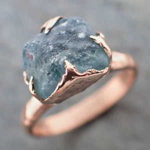 Raw Sapphire blue montana sapphire Rose Gold Engagement Ring Wedding Ring Custom Gemstone Ring Solitaire Ring byAngeline 2171