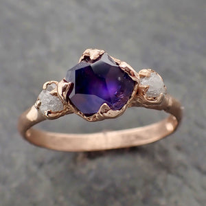 Sapphire Partially Faceted Multi stone Rough Diamond 14k rose Gold Engagement Ring Wedding Ring Custom One Of a Kind Gemstone Ring 2175