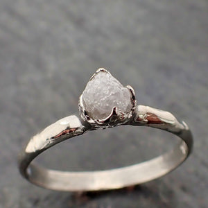 Raw White Diamond Solitaire Engagement Ring 14k White Gold Stacking Rough Diamond byAngeline 2181