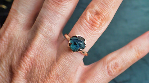 Montana Sapphire Partially Faceted Solitaire 14k Rose Gold Engagement Ring Wedding Ring Custom One Of a Kind blue Gemstone Ring 2170