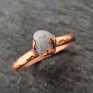 Raw White Diamond Solitaire Engagement Ring Rough 14k rose Gold Wedding diamond Stacking Rough Diamond byAngeline 2180