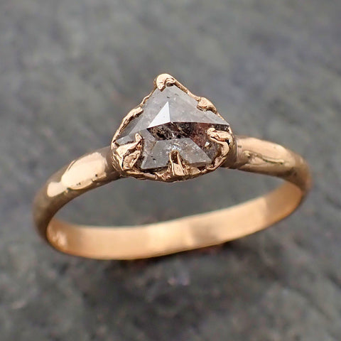 Fancy cut salt and pepper Diamond Solitaire Engagement 14k yellow Gold Wedding Ring byAngeline 2178