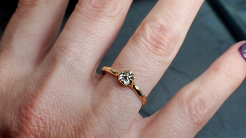 Fancy cut white Diamond Solitaire Engagement 14k yellow Gold Wedding Ring byAngeline 2179