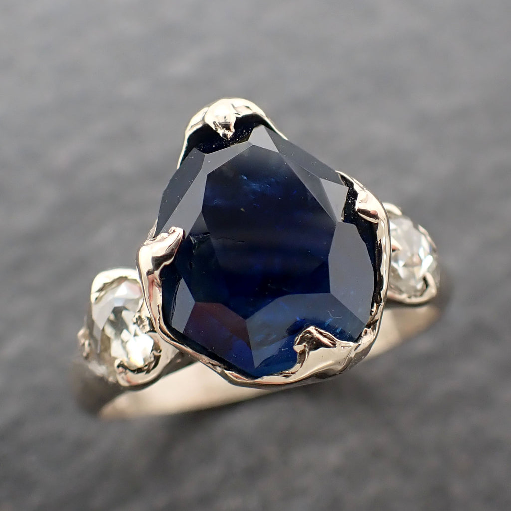 Partially faceted blue Sapphire and fancy Diamonds 18k White Gold Engagement Wedding Ring Custom Gemstone Ring Multi stone Ring 2409