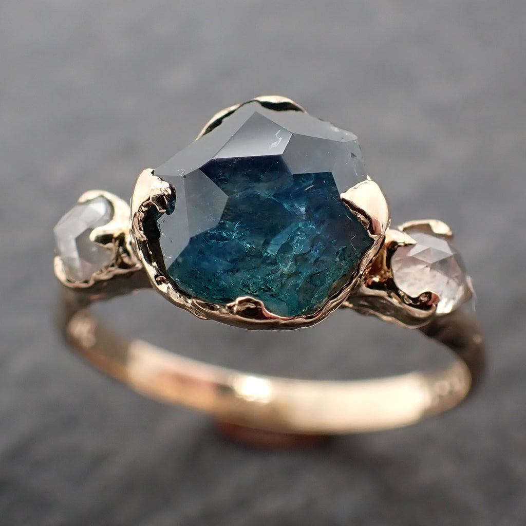Partially faceted blue Montana Sapphire and fancy Diamonds 14k  Gold Engagement Wedding Ring Custom Gemstone Ring Multi stone Ring 2412