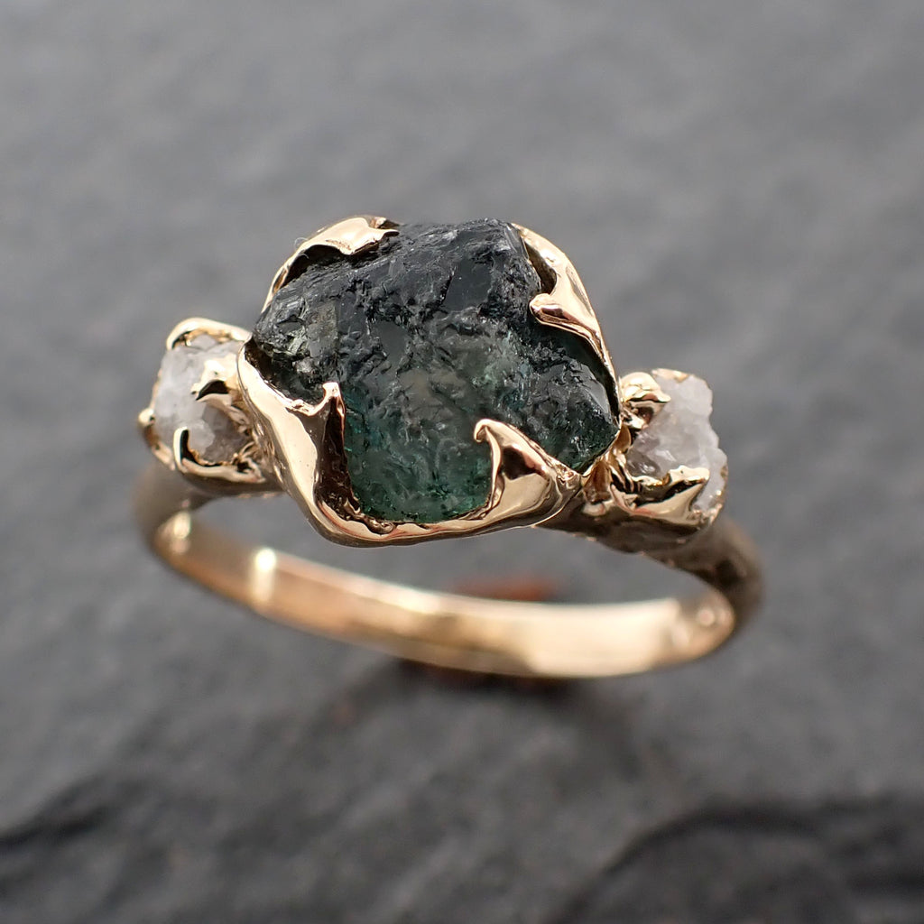 Raw blue-green Montana Sapphire Diamond 14k Gold Engagement Wedding Ring Custom One Of a Kind Gemstone Multi stone Ring 2413