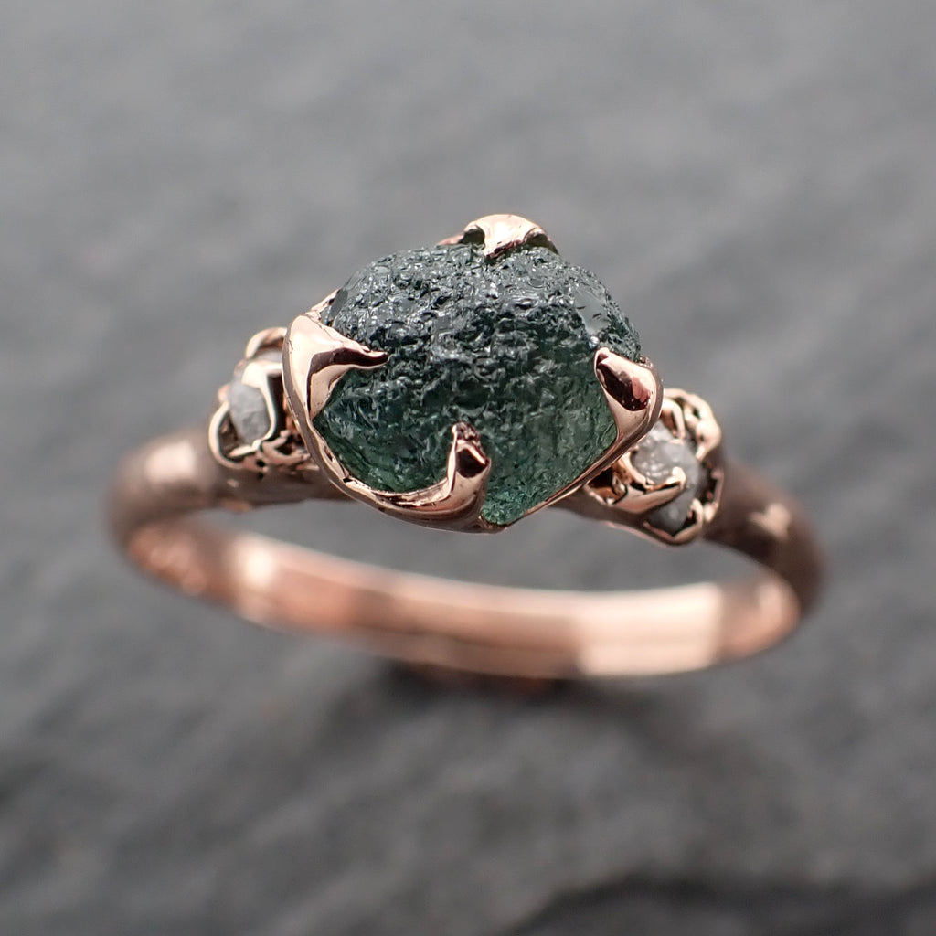Raw green Montana Sapphire Diamond Rose Gold Engagement Wedding Ring Custom One Of a Kind Gemstone Multi stone Ring 2415