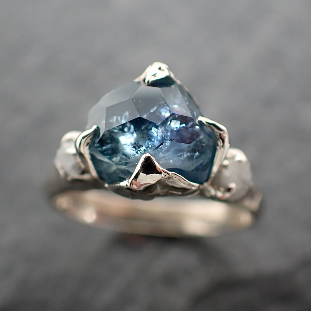 Partially faceted Montana Sapphire Diamond 14k White Gold Engagement Ring Wedding Ring Custom blue Gemstone Ring Multi stone Ring 2434