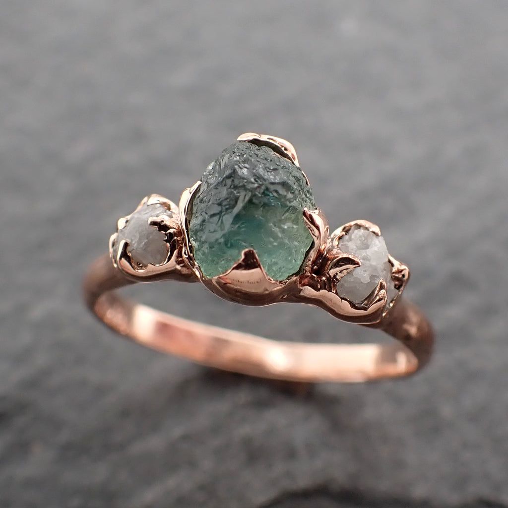 Raw blue-green Sapphire Diamond Rose Gold Engagement Ring Wedding Ring Custom One Of a Kind Gemstone Multi stone Ring 2428