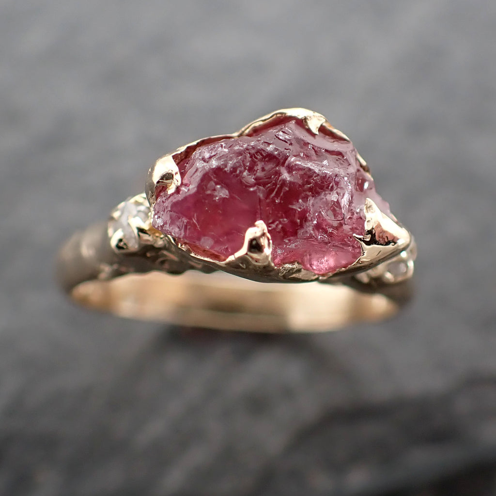 Raw Pink Spinel engagement 14k Yellow gold Multi Stone Gemstone Ring 2426