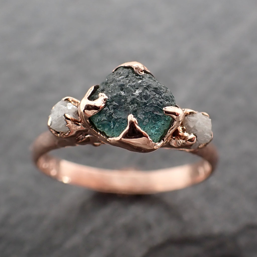 Raw blue-green Sapphire Diamond Rose Gold Engagement Ring Wedding Ring Custom One Of a Kind Gemstone Multi stone Ring 2429