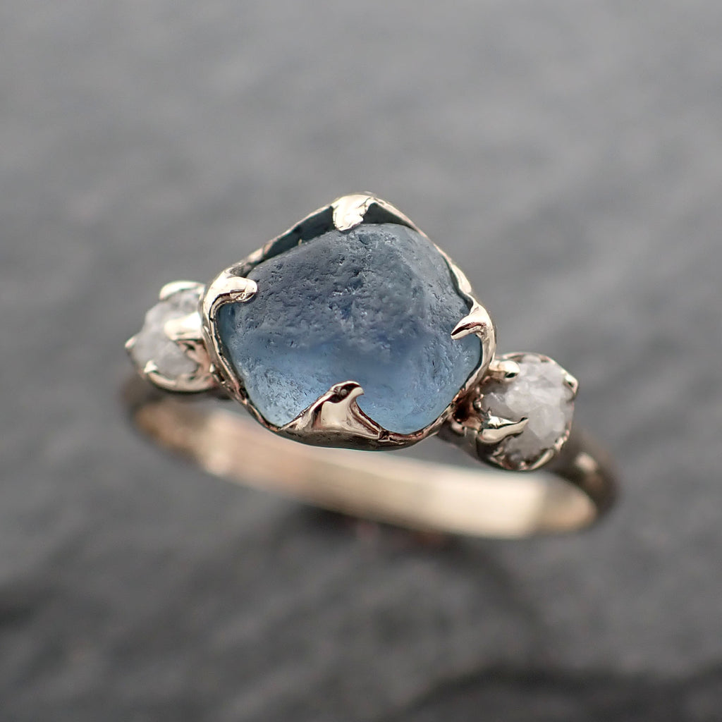 Raw blue Montana Sapphire Diamond White 18k Gold Engagement Wedding Ring Custom One Of a Kind Gemstone Multi stone Ring 2433