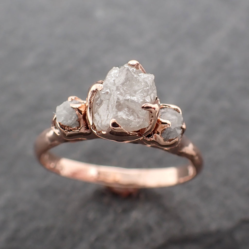 Raw Rough Diamond Engagement Stacking Multi stone Wedding anniversary Rose 14k Gold Ring Rustic 2427