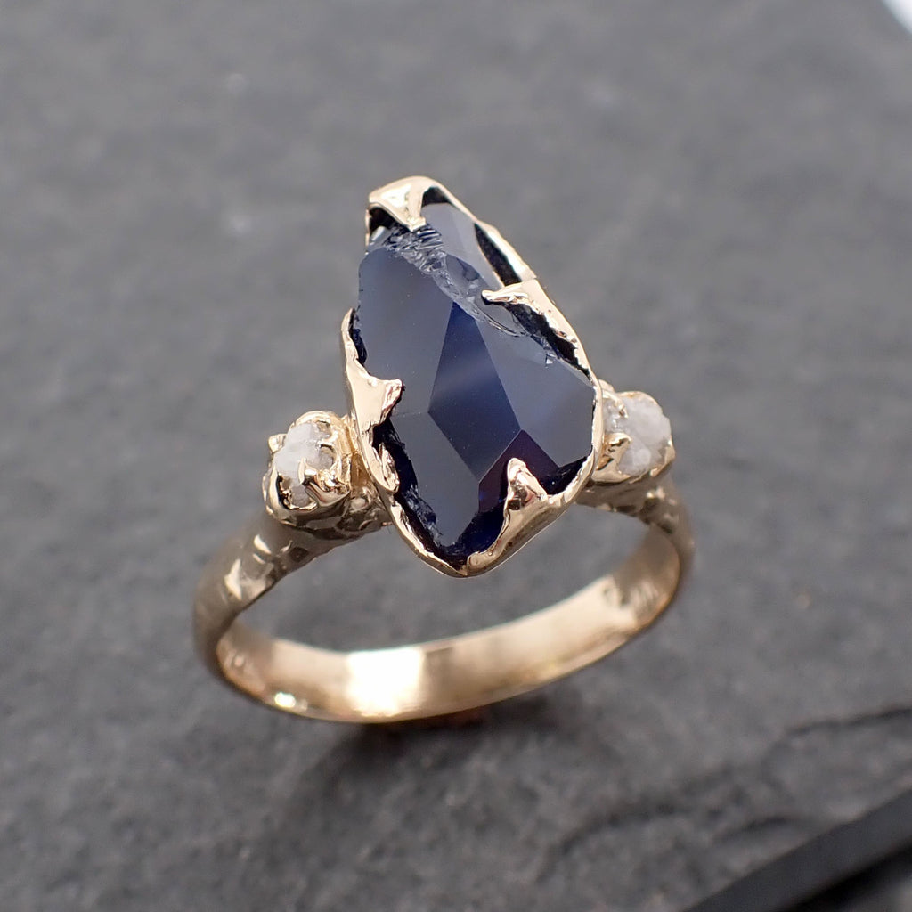 Partially faceted dark blue Sapphire and Diamonds 18k Gold Engagement Wedding Gemstone Multi stone Ring 2442