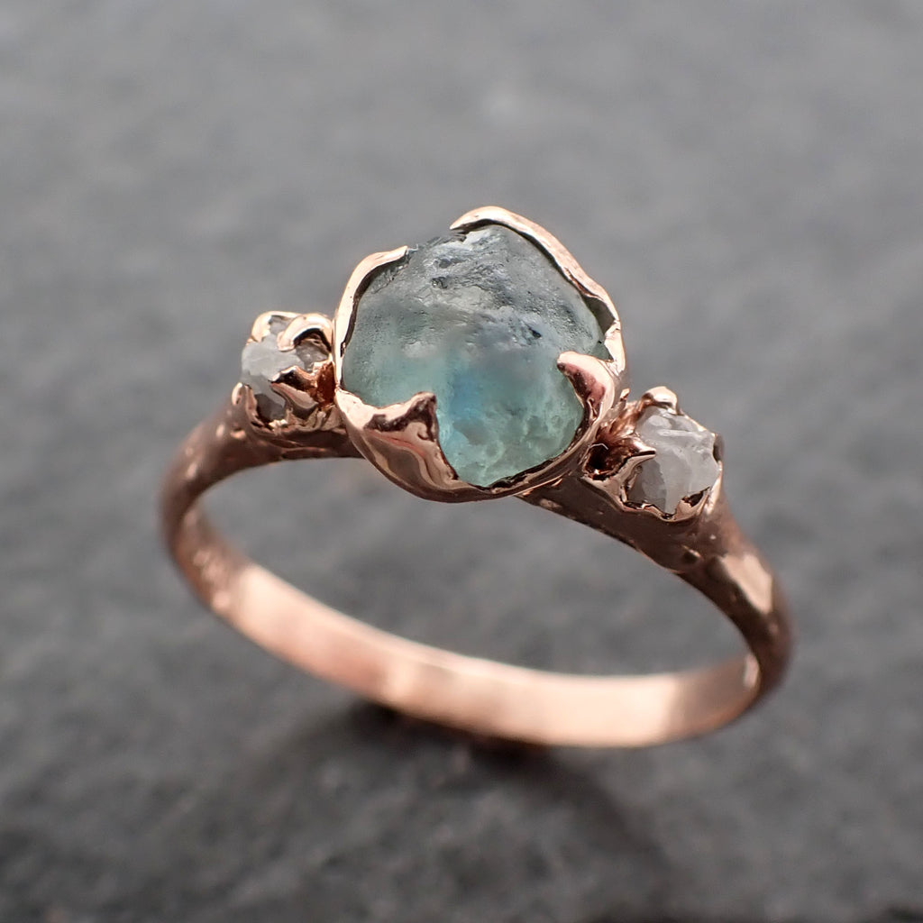 Raw green Montana Sapphire Diamond Rose Gold Engagement Wedding Ring Custom One Of a Kind Gemstone Multi stone Ring 2452