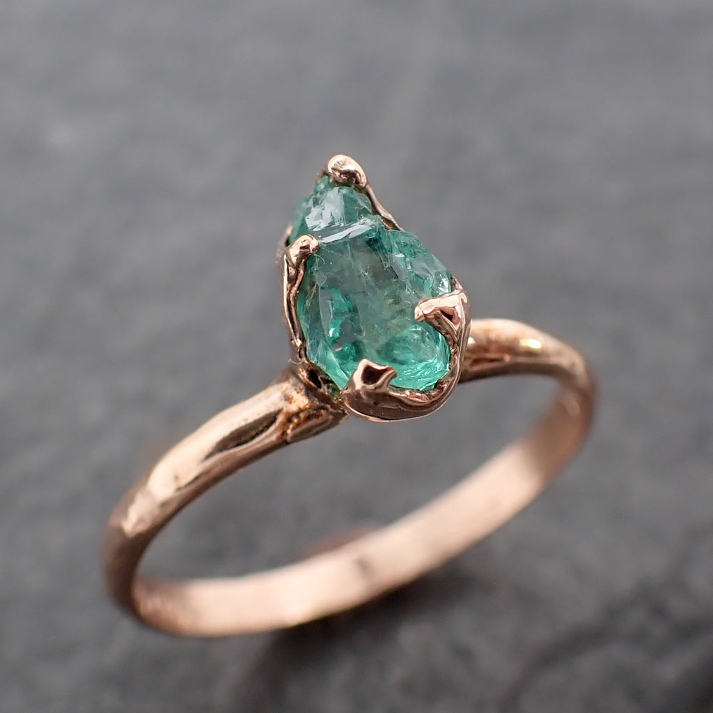 Raw Rough Emerald  Rose Gold Ring Solitaire Birthstone One Of a Kind Gemstone Engagement Wedding Ring Recycled gold byAngeline 2448