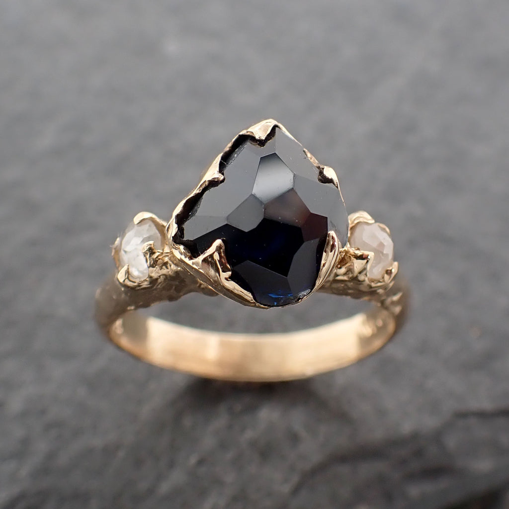 Partially faceted dark blue Sapphire and fancy Diamonds 18k Gold Engagement Wedding Gemstone Multi stone Ring 2440