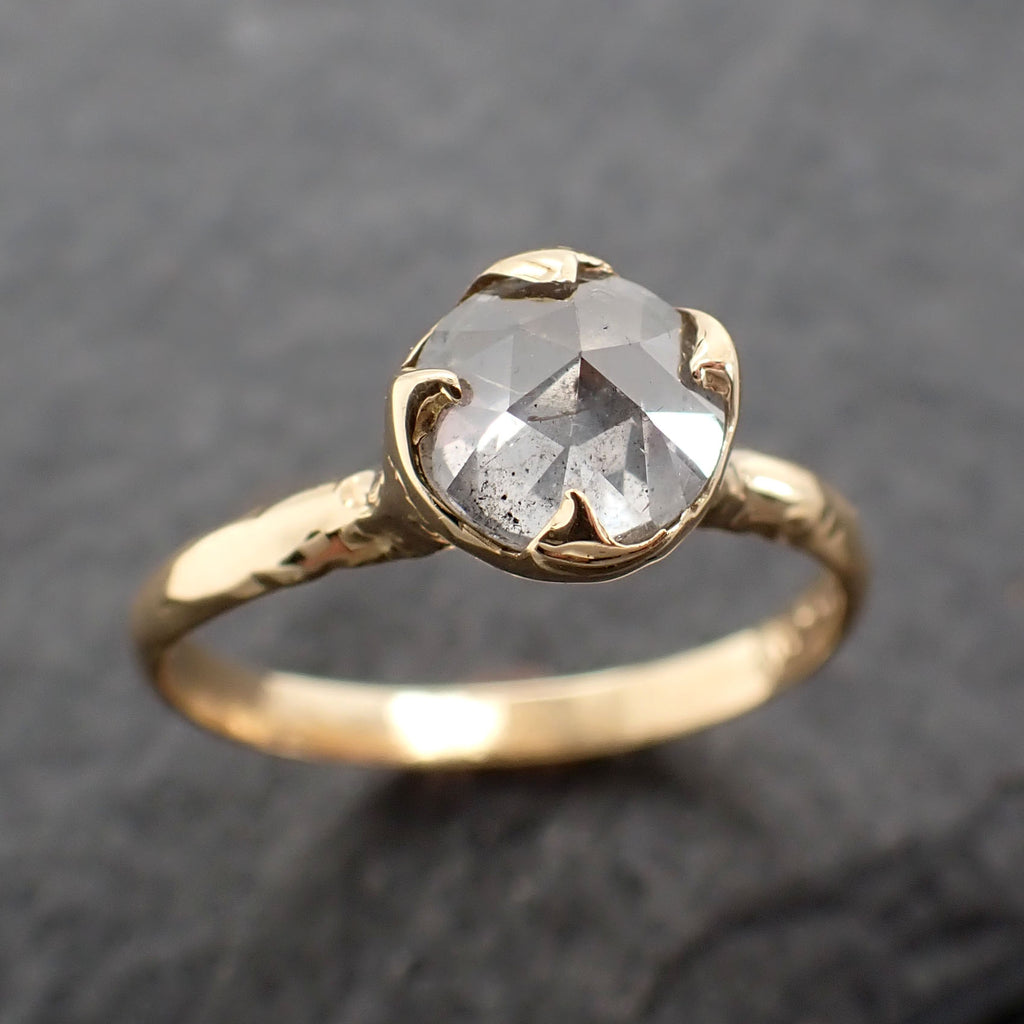 Fancy cut white Diamond Solitaire Engagement 18k yellow Gold Wedding Ring byAngeline 2438