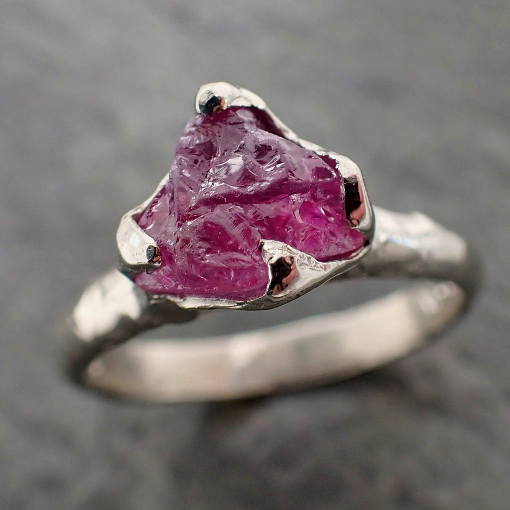 Raw Pink Sapphire White Gold Engagement Ring Solitaire Gemstone Wedding Ring byAngeline 2159