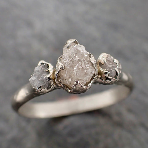Raw Rough Diamond Engagement Stacking ring Multi stone Silver Ring recycled SS00047