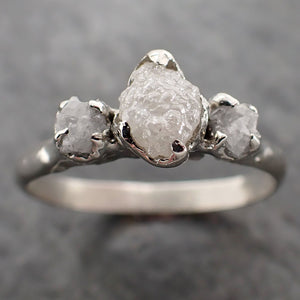 Raw Rough Diamond Engagement Stacking ring Multi stone Wedding anniversary White Gold 14k Rustic byAngeline C2169