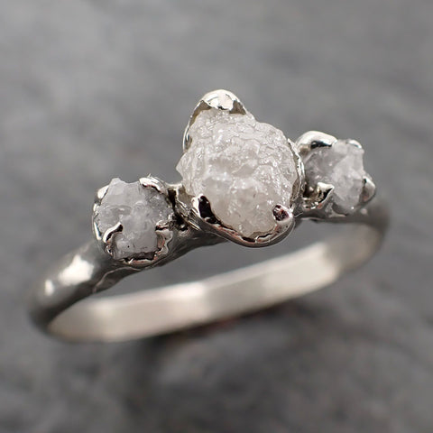 Raw Rough Diamond Engagement Stacking ring Multi stone Wedding anniversary White Gold 14k Rustic byAngeline 2169