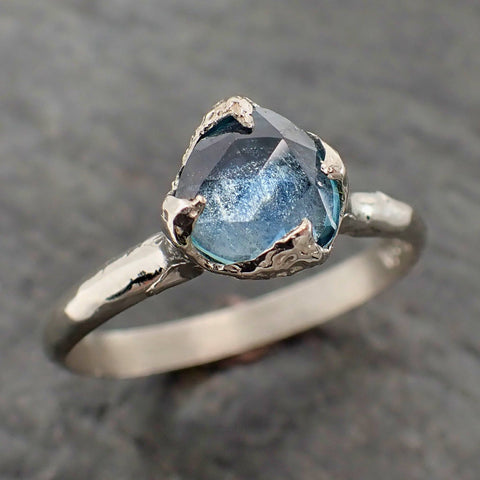 Fancy cut Montana Blue Sapphire 14k White gold Solitaire Ring Gold Gemstone Engagement Ring 2157