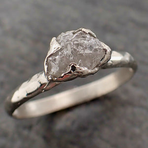 Rough Diamond Engagement Ring Raw 14k White Gold Ring Wedding Diamond Solitaire Rough Diamond Ring byAngeline 2160