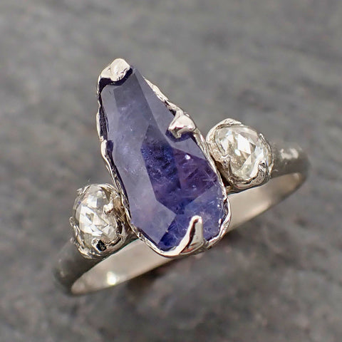 Partially Faceted Purple Sapphire side diamonds Multi stone 14k White Gold Engagement Ring Wedding Ring Custom Gemstone Ring 2161