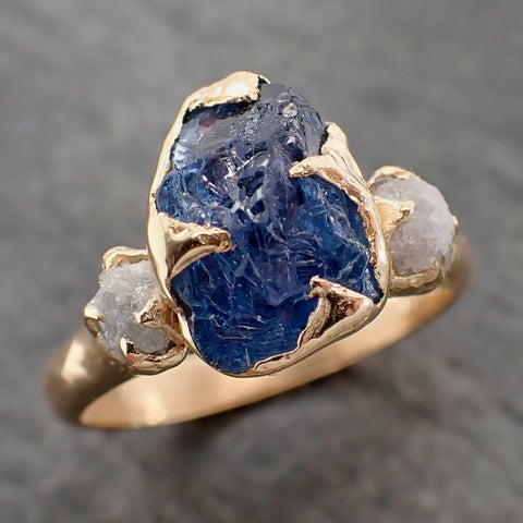Raw Sapphire and rough Diamond Yellow 14k Gold Engagement Ring Wedding Ring Custom One Of a Kind Gemstone Multi stone Ring 2156