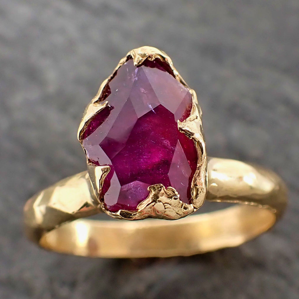 Partially Faceted Sapphire Solitaire 18k yellow Gold Engagement Ring Wedding Ring Custom One Of a Kind Gemstone Ring 2154