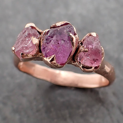 Partially faceted Pink and Purple Sapphire 14k Rose gold Multi Stone Ring Gold Gemstone Engagement Ring Raw 2162