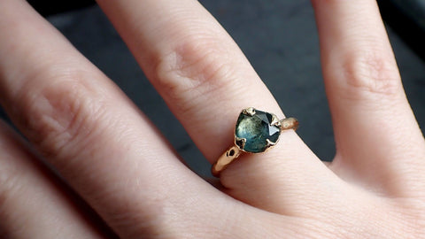 Fancy cut Montana blue Sapphire 14k Yellow gold Solitaire Ring Gold Gemstone Engagement Ring 2168