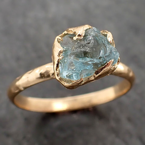 Raw uncut Aquamarine Solitaire 14k Yellow gold Ring Custom One Of a Kind Gemstone Ring Bespoke byAngeline 2166