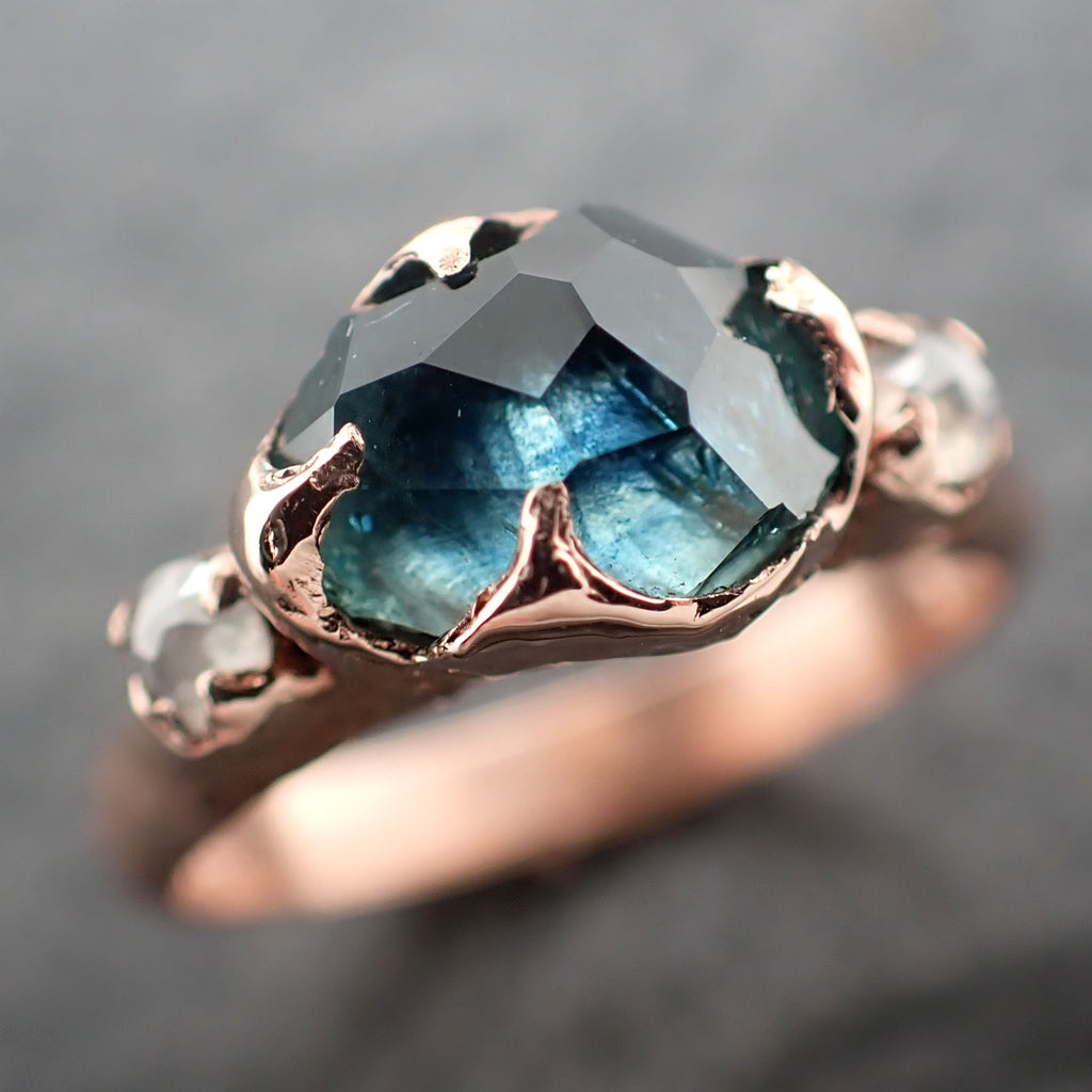 Partially faceted blue Montana Sapphire and fancy Diamonds 14k Rose Gold Engagement Wedding Ring Gemstone Ring Multi stone Ring 2453