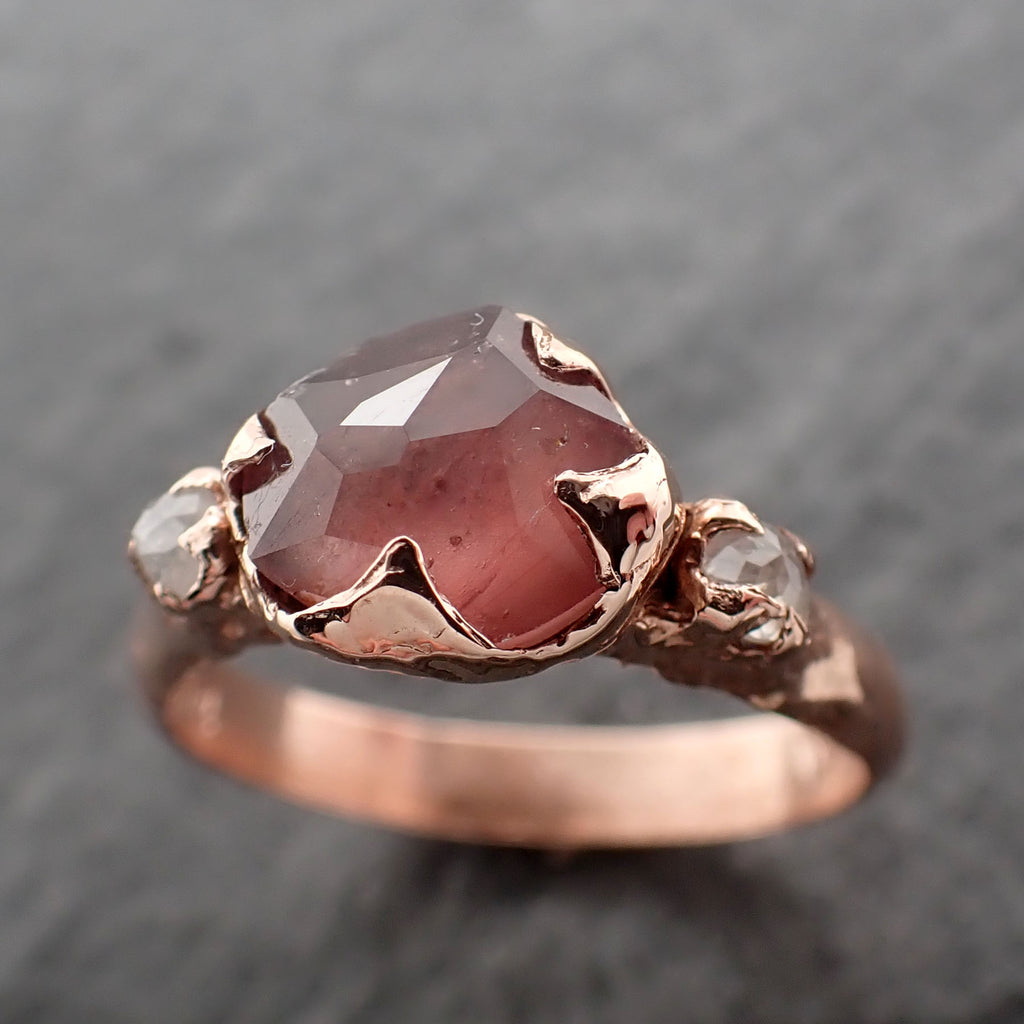 Partially faceted Pink Sapphire gemstone Fancy cut Diamond 14k Rose Gold Engagement multi stone 2454