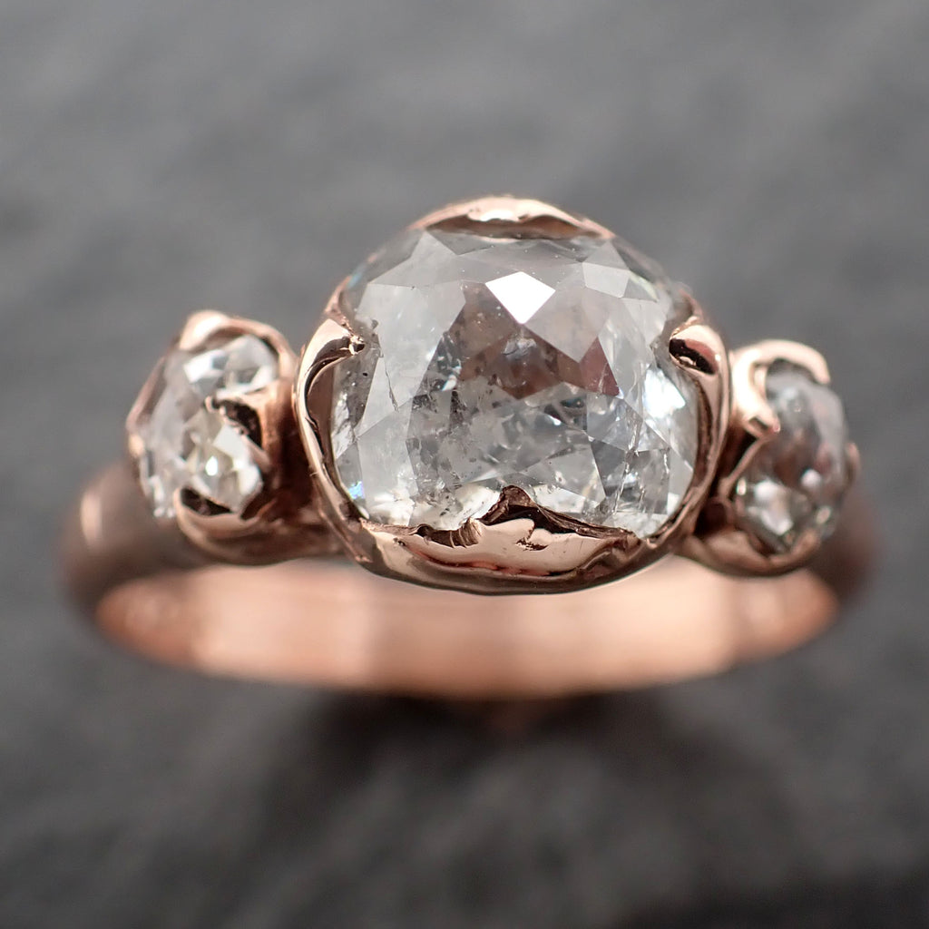 Fancy cut Diamond Engagement 14k Rose Gold Multi stone Wedding Ring byAngeline 2456